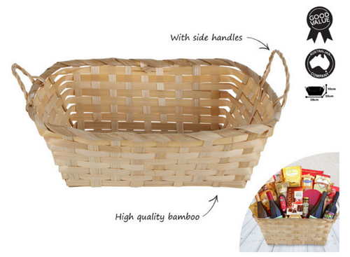 RECTANGLE BAMBOO BASKET WITH  SIDE HANDLES 28X25X10CM