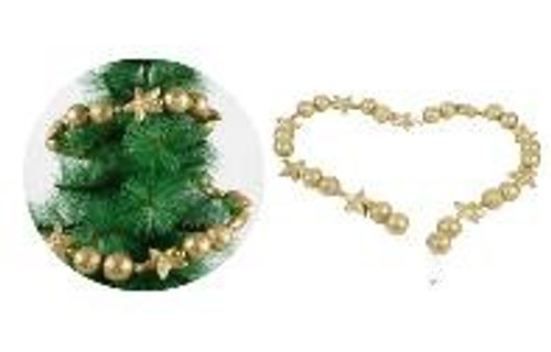 FOAM BAUBLE AND STAR GARLAND  1.5M GOLD