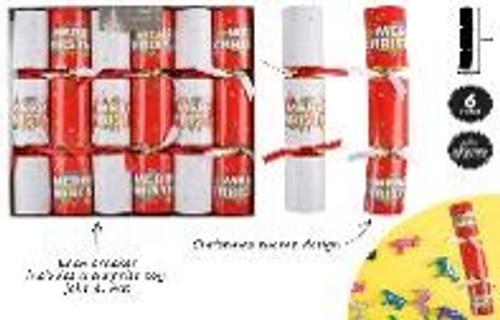 6PCE MERRY CHRISTMAS XMAS  CRACKER SET 30X5CM