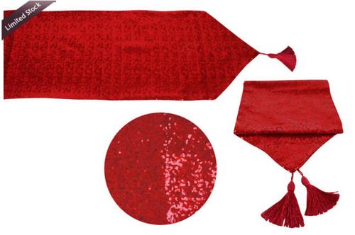 SEQUIN XMAS TABLE RUNNER   150CM x 33CM RED