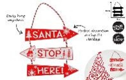 SANTA PLEASE STOP HERE HANGING DECO 45 x 18CM
