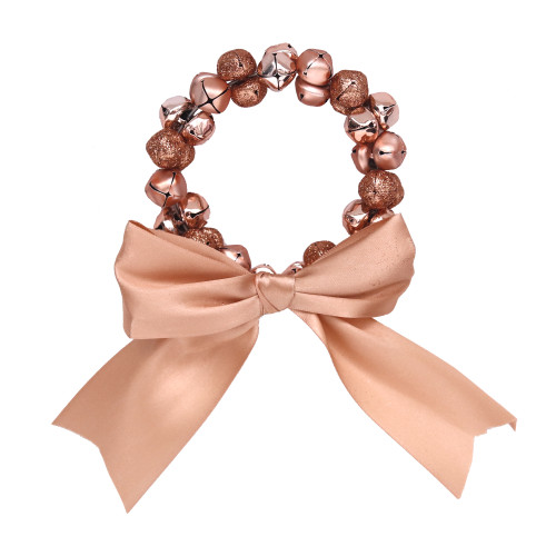 ROSE GOLD BELL WREATH W/ROSEGOLD BOW 10CM