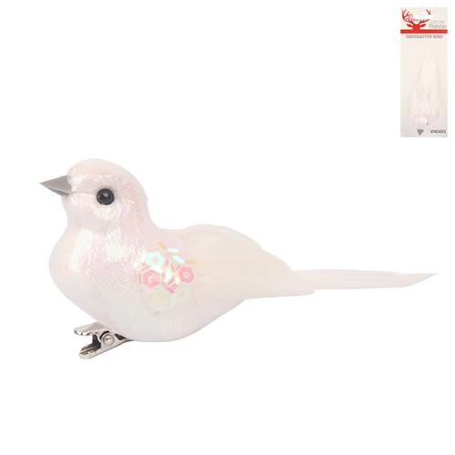 WHITE FEATHER BIRD W/CLIP 10.5CM