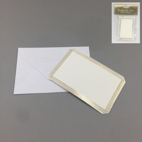 3PK GOLD MINI BLANK CARDS WITH ENVELOPES (6CM X 9CM)