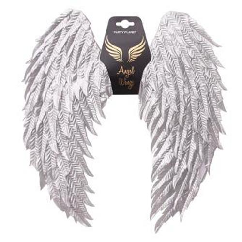 *60x45CM METALLIC SILVER ANGEL WINGS