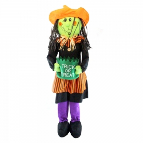 STANDING COLOURFUL WITCH 120CM W/ TRICK OR TREAT