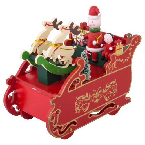 Statue Wind Up Musical Wooden Handcrafted - Sleigh 16cm x 9.5cm x 11cm