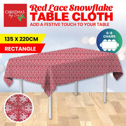 Table Cloth Lace Snowflake 135cm x 220cm Red Only