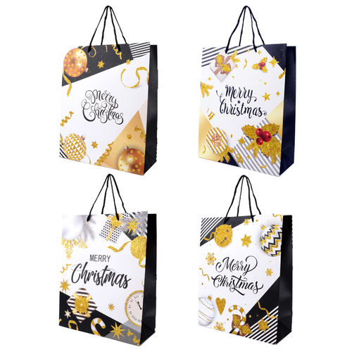 Gift Bag Premium 3D Glitter Christmas Celebration -  Medium 26cm x 10.5cm x 32cm 4 Assorted Designs