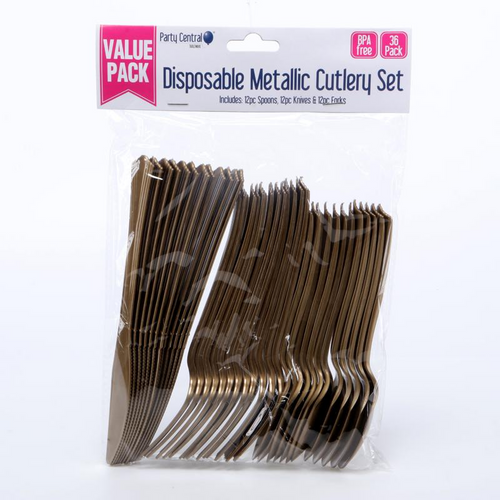 Disposable Cutlery Assorted Metallic Gold 36pk