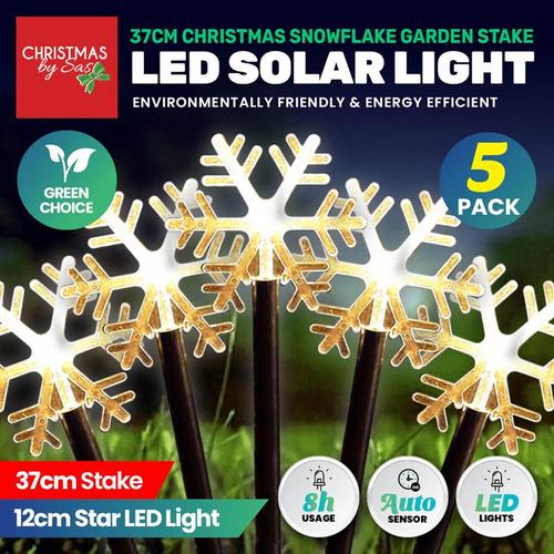 Light Solar Stakes Snowflake 37cm 2.4m 5pk Warm White