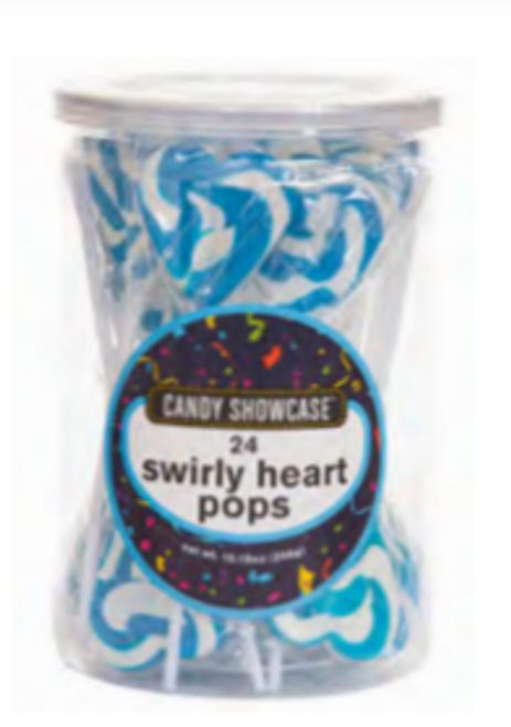 Blue Heart Swirly Pop 24pc (288g)