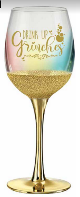 DRINK UP GRINCHES WINE GLASS 430ML