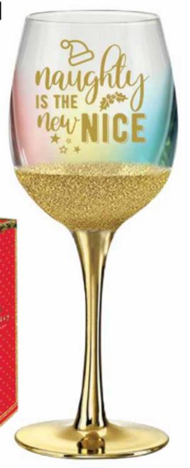NAUGHTY IS THE NEW NICE WINE GLASS 430ML