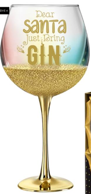 DEAR SANTA JUST BRING GIN GLASS 675ML 21CM H