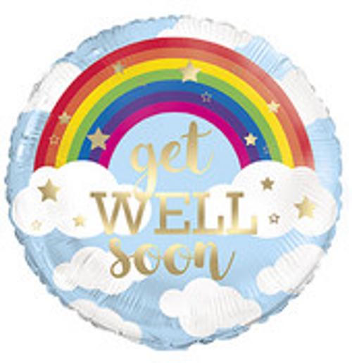 "Rainbow Get Well Soon 18"" Foil BLN PKG"