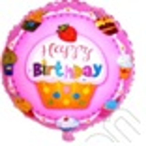 "18"" Happy Birthday with Big Cupcake"