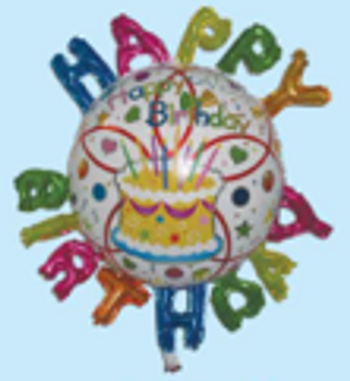 "24""x 26"" Happy Birthday Balloon with Letter Around (LKBGF-233)"