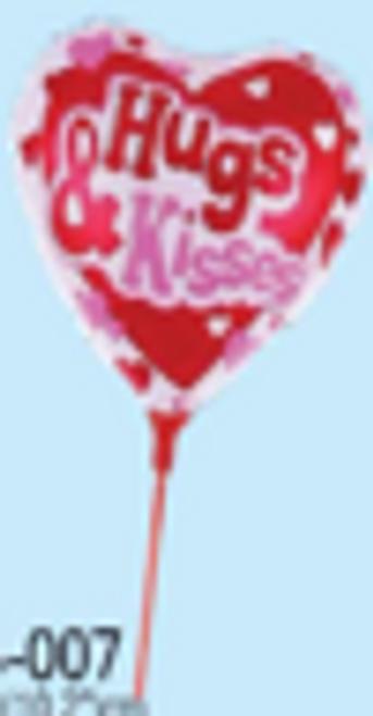 "9.5"" x 10.2"" Hugs & Kisses - Red Heart Shaped Balloon (LKBSB-007)"