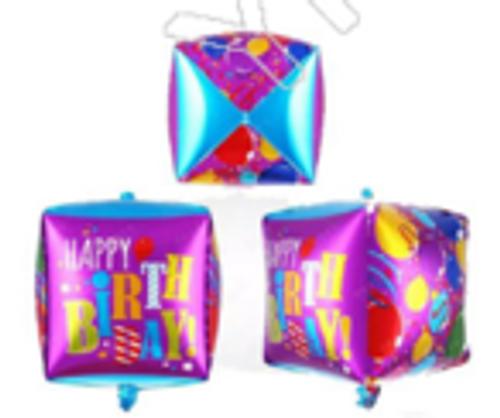 """18"""" Happy Birthday - Cube Shaped Balloon (CY-B0247)"""