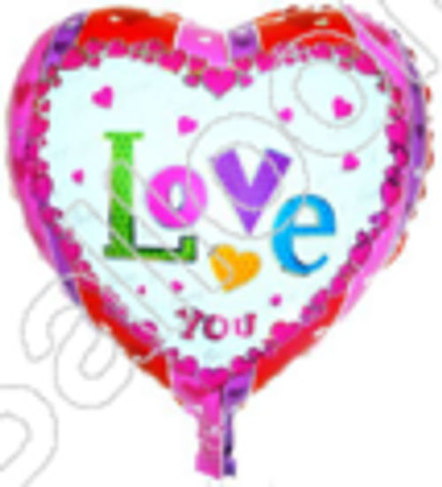 """18"""" Love you with Pink Edge (B0130)"""