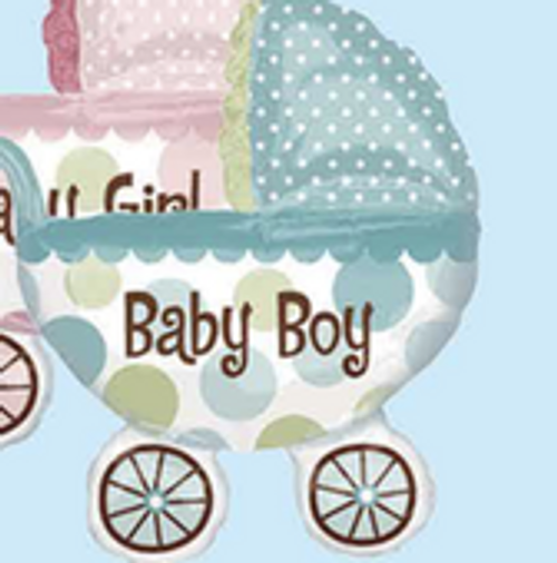 """32"""" x 42"""" Baby Carriage (Baby Boy Blue) (LKBSF178)"""