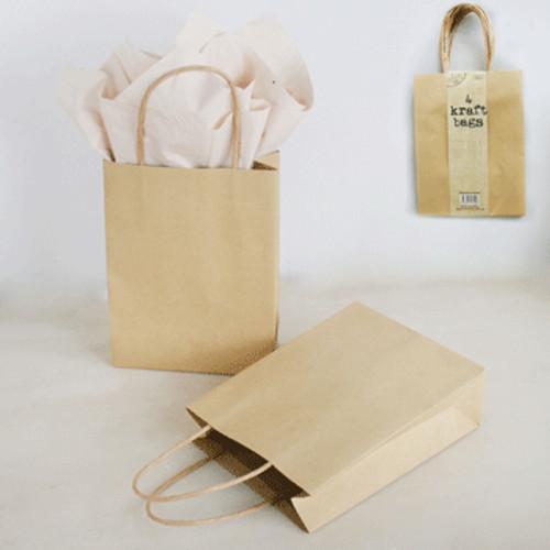 *4pk Med Brown Kraft Bag (15x6x20cm)
