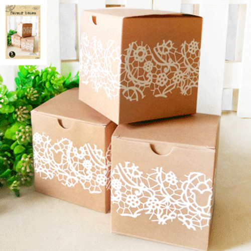 *3pk Kraft Paper Favour Box with Vintage Lace Print
