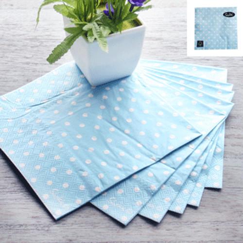 * 33x33cm 3Ply 20pk Dotty Napkin - PASTEL BLUE DOT