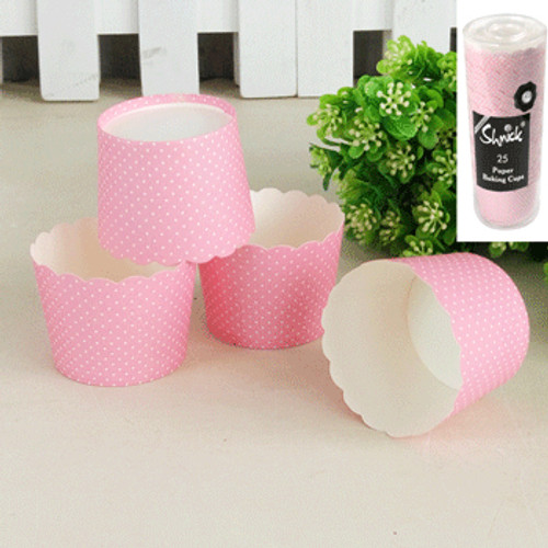 * 25pk Mini Dotty Baking Cups - PINK