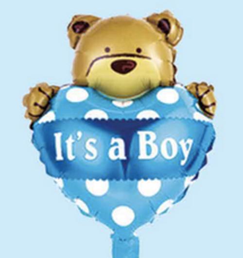 """12"""" x 18"""" It's a boy with bear (LKBMF-011)"""