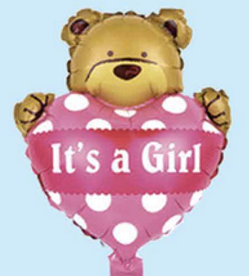"12"" x 18"" It's a Girl with bear (LKBMF-012)"