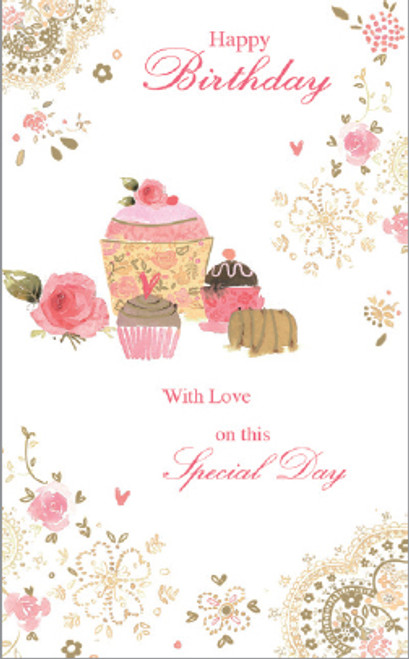CARD BDAY FEMALE CUPCAKES (PC821)