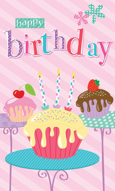 CARD BDAY FEMALE CUPCAKES (PC954)