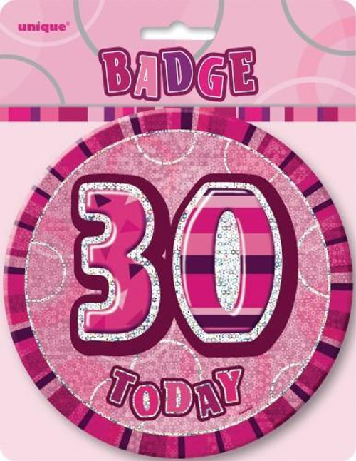 GLITZ PINK B'DAY BADGE - 30