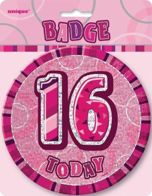 GLITZ PINK B'DAY BADGE - 16