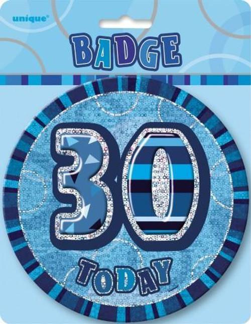 GLITZ BLUE B'DAY BADGE - 30