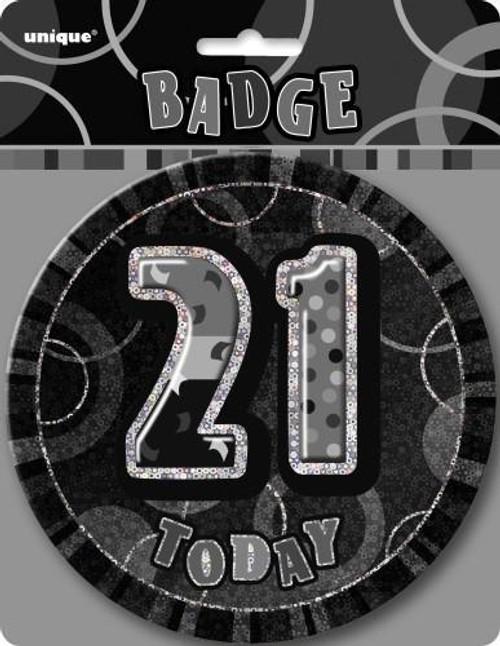 GLITZ BLACK B'DAY BADGE - 21
