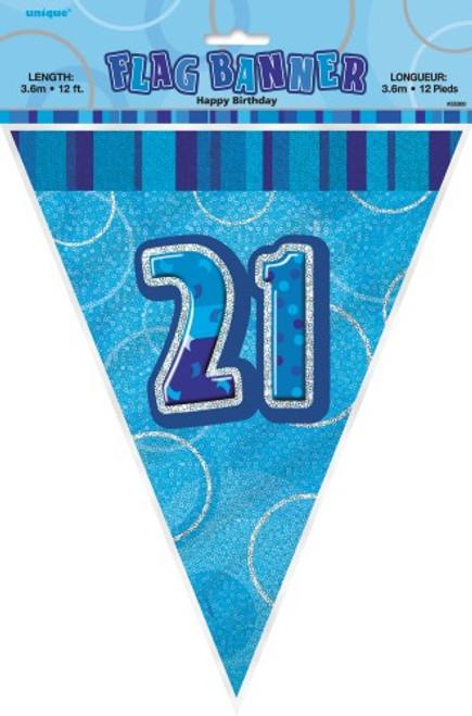 GLITZ BLUE FLAG BANNER - 21