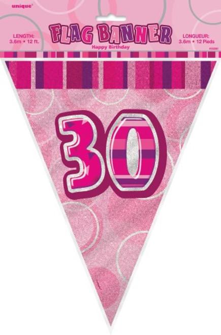 GLITZ PINK FLAG BANNER - 30