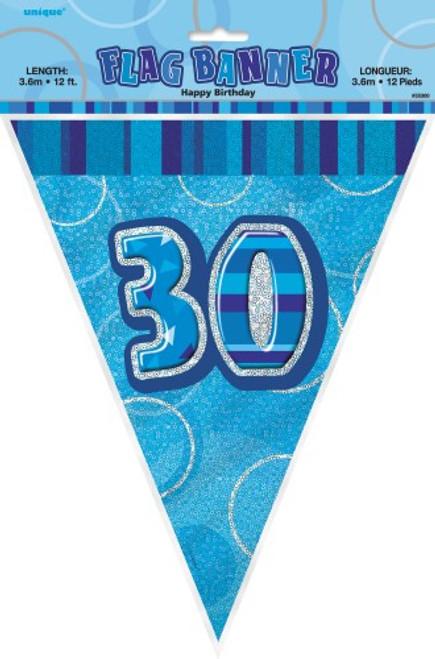 GLITZ BLUE FLAG BANNER - 30
