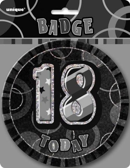 GLITZ BLACK B'DAY BADGE - 18