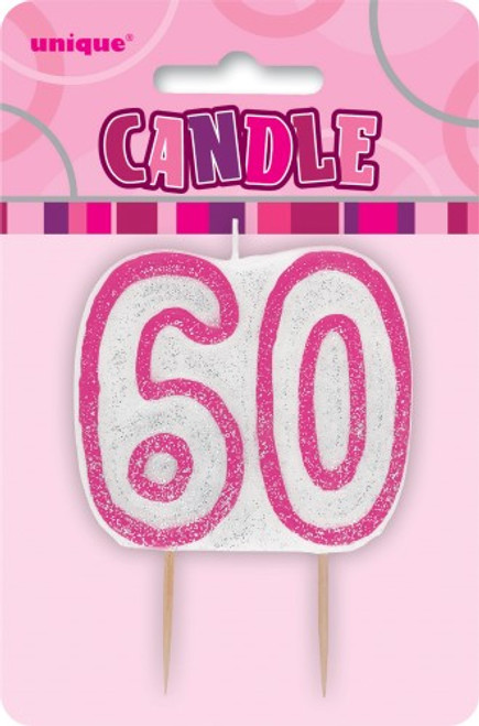 GLITZ PINK NUMERAL CANDLE - 60