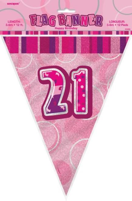 GLITZ PINK FLAG BANNER - 21