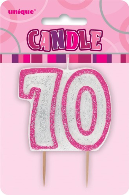 GLITZ PINK NUMERAL CANDLE - 70