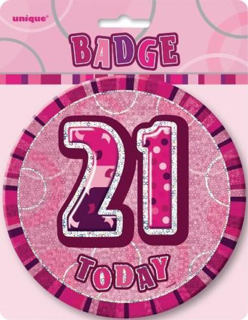 GLITZ PINK B'DAY BADGE - 21