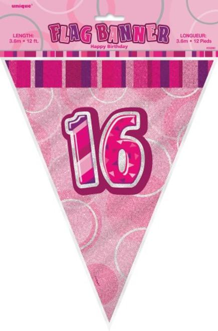 GLITZ PINK FLAG BANNER - 16