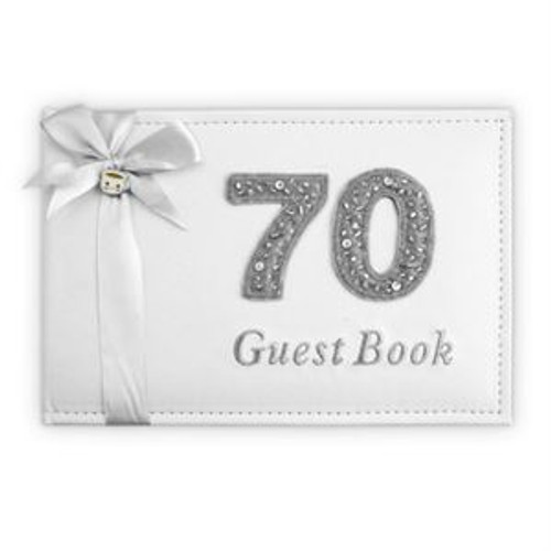 BIRTHDAY GUEST BOOK SILVE 70TH