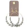 Grey Wooden Bead Hoop Earrings