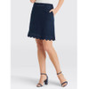 Scallop Dark Wash Denim Skirt